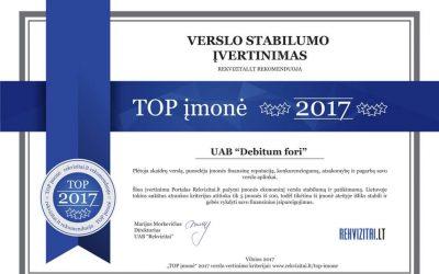 "UAB ""Debitum fori"" pripažinta TOP įmone 2017 m."
