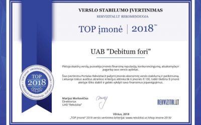 """Debitum fori"" UAB pripažinta TOP įmone 2018"