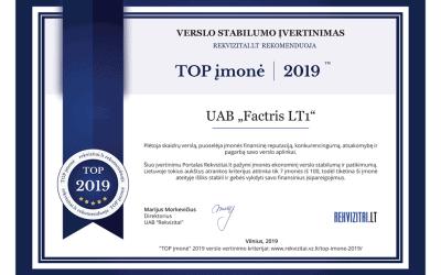 Factris Lietuva – tarp TOP įmonių jau trečius metus iš eilės